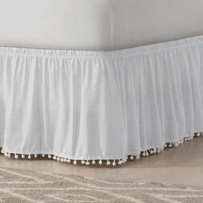 Pom Pom White Solid King Bed Skirt