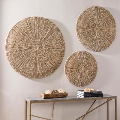 Deltryn Seagrass Natural Finish Wall Art (Set of 3)