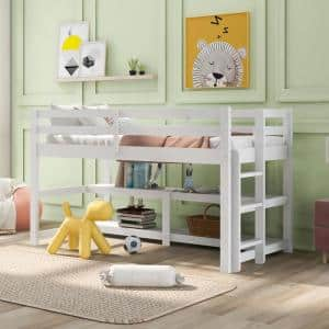 White Twin Size Wood Loft Bed with Shelves