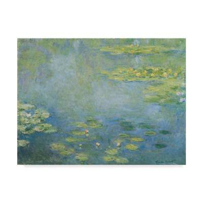 Waterlilies by Claude Monet Floater Frame Nature Wall Art 24 in. x 32 in.