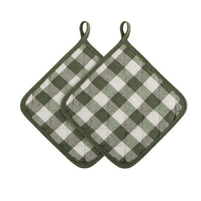 Buffalo Check Polyester/Cotton Sage Pot Holders (2-Pack)
