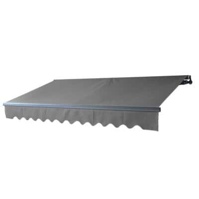 10 in. x 8 ft. Retractable Black-Frame Patio Awning upto 76 sq. ft. of Coverage in Grey