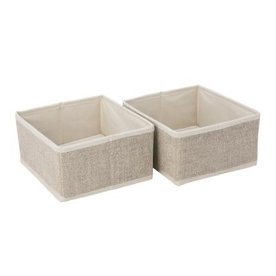 Square Medium Faux Jute 2 Pack Compartment Drawer Organizer