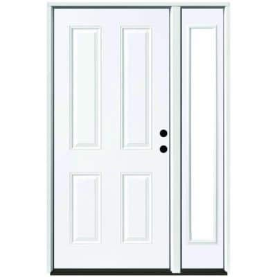 51 in. x 80 in. 4-Panel Primed White Left-Hand Steel Prehung Front Door with 12 in. Clear Glass Sidelite 6 in. Wall