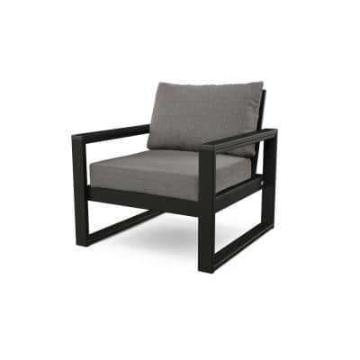 EDGE Black Stationary Plastic Patio Outdoor Lounge Chair with Grey Cushions