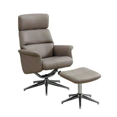 Taupe Reclining Chair Set with Swivel and Adjustable Headrest (2-Piece)