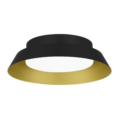 Delaney 13 in. Matte Black with Brushed Gold LED Flush Mount