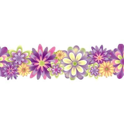 Falkirk Brin II Purple, Pink, Green, Yellow Flowers Kids Scalloped Pre-Pasted Wallpaper Border