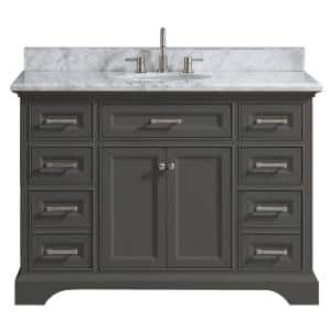 Windlowe 49 in. W x 22 in. D x 35 in. H Bath Vanity in Gray with Carrara Marble Vanity Top in White with White Sink