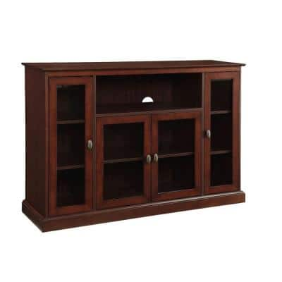 16 in. Espresso Wood TV Stand Fits TVs Up to 50 in. with Storage Doors