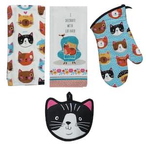 Crazy Cat Cotton Multi Kitchen Textiles (Set of 4)