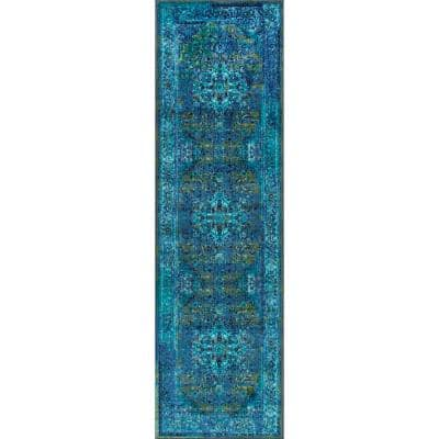 Reiko Vintage Persian Blue 3 ft. x 6 ft. Runner Rug