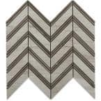 Royal Herringbone Wooden Beige and Athens Gray Strips 10-1/2 in. x 12 in. x 10 mm Polished Marble Mosaic Tile