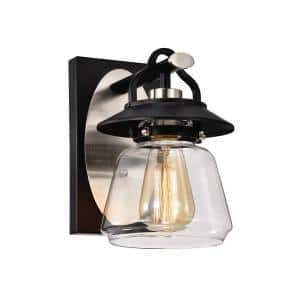 1-Light Black and Brushed Nickel Lantern Wall Sconce with Clear Glass