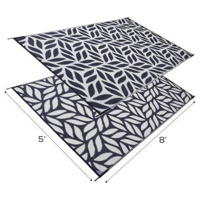 Abstract Leaf Reversible Mat Black/Beige 5 ft. x 8 ft. Virgin Polypropylene Mat with UV Protection