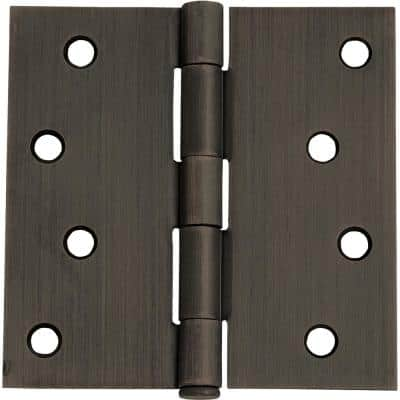 4 in. Square Corner Oil Rubbed Bronze Door Hinge Value Pack (3 per Pack)