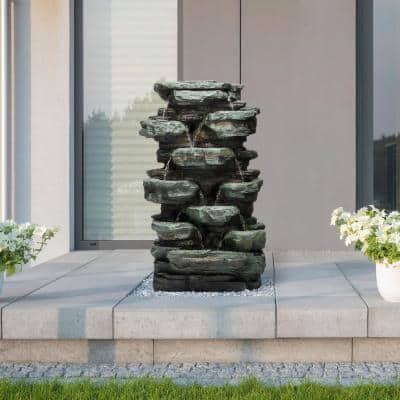 39 in. Tall Outdoor Multi-Tier Rock Water Fountain with LED Lights