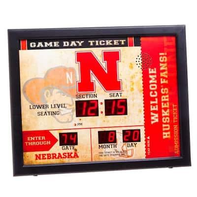University of Nebraska NCAA Bluetooth Ticket Stub Wall Clock
