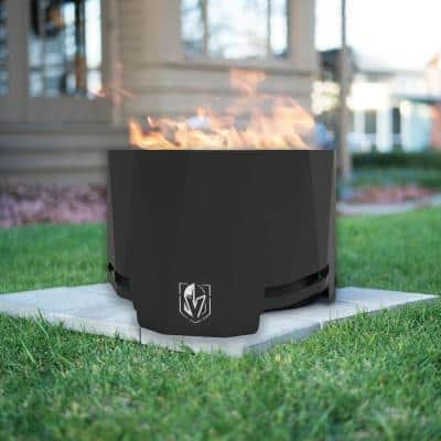 The Peak NHL 24 in. x 16 in. Round Steel Wood Patio Fire Pit -Vegas Golden Knights