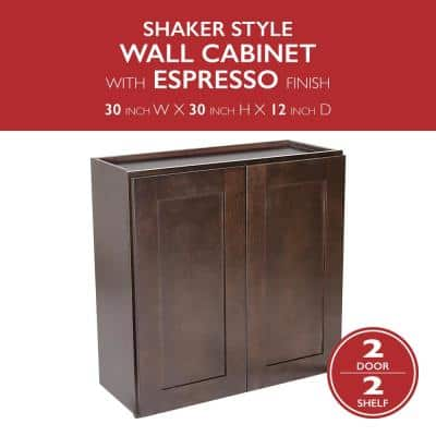 Brookings Plywood Assembled Shaker 30x30x12 in. 2-Door Wall Kitchen Cabinet in Espresso