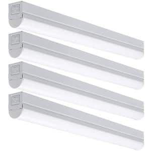 2 ft. 17-Watt Equivalent Plug-in Direct Wire Integrated LED White Strip Light Fixture 900 Lumens 4000K (4-Pack)
