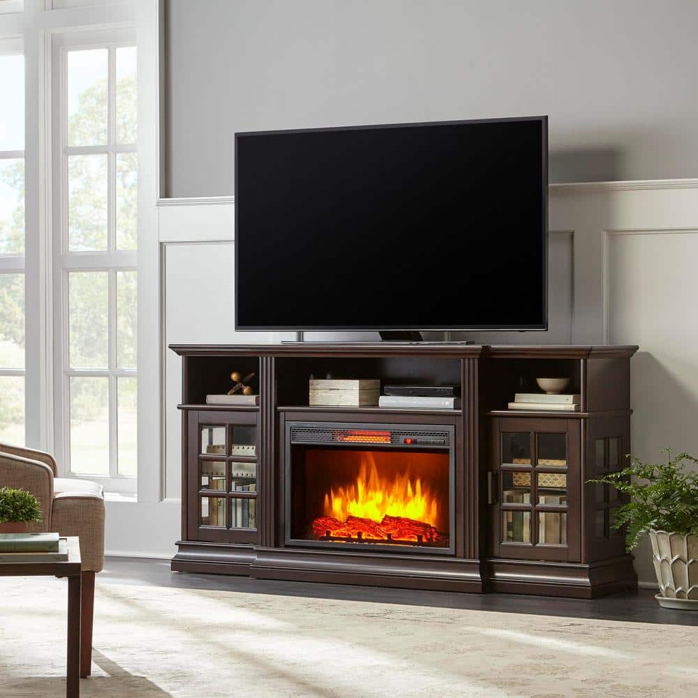 Home Decorators Collection Archfield 65 In Freestanding Infrared Electric Fireplace Tv Stand In Espresso 365 181 202 Y The Home Depot