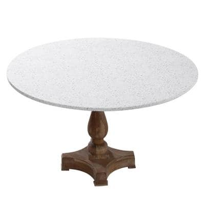 "42"" Cotton Fabric Fitted Table Cover, Tan Terazzo"