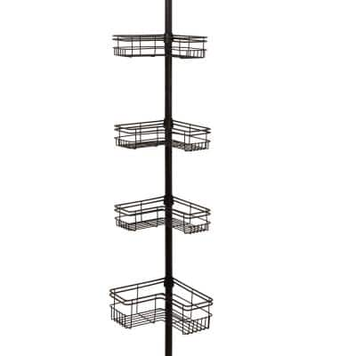 60 in. - 97 in. L-Style Tension Pole Shower Caddy with 4 Shelves in Bronze