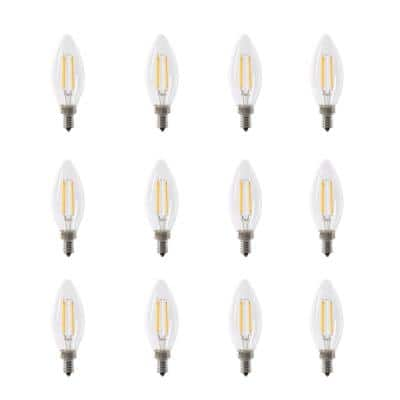 60W Equivalent B10 Candelabra Dimmable Filament CEC Clear Glass Chandelier LED Light Bulb, Bright White 3000K (12-Pack)