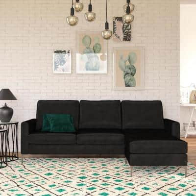 Chapman 2-Piece Black Sectional Sofa with Chrome Legs and Interchangeable Chaise Velvet Couch