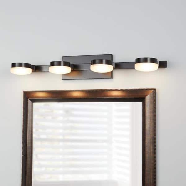 Home Decorators Collection 40 Watt Equivalent 4 Light Oil Rubbed Bronze Integrated Led Vanity Light With Etched Glass 22824 The Home Depot