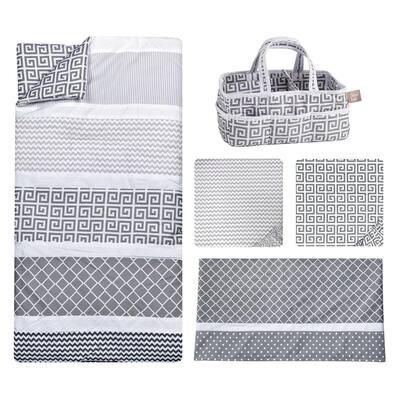 Ombre Gray 5-Piece Polyester Crib Bedding Set