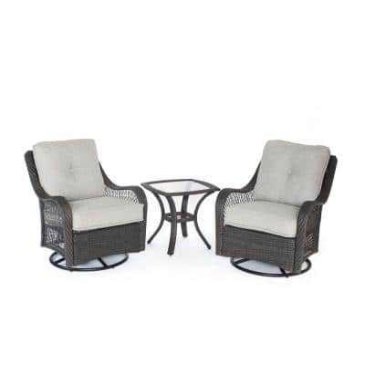 Orleans Grey 3-Piece All-Weather Wicker Patio Swivel Rocking Chat Set with Silver Lining Cushions