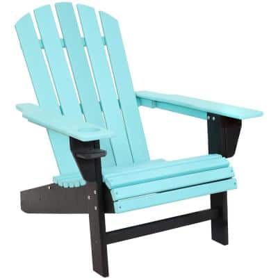 All-Weather Turquoise/Black Outdoor HDPE Recycled Plastic Adirondack Chair with Drink Holder