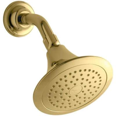 Forte 1-Spray 5.5 in. Single Wall Mount Fixed Rain Shower Head in Vibrant Polished Brass
