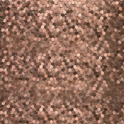 DIP Mini Bronze Hex Tile 12 in. x 12 in. Self-Adhesive PVC Backsplash (10 pack)