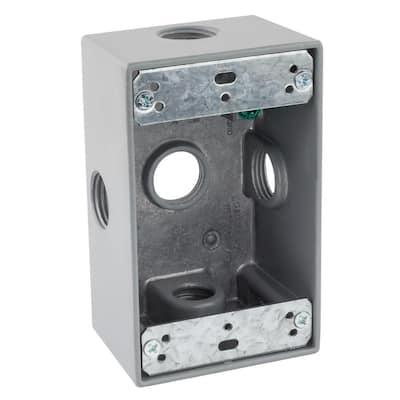 1/2 in. Gray 1-Gang 5-Holes Weatherproof Box
