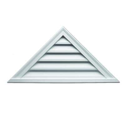 48 in. x 18 in. Triangle White Polyurethane Weather Resistant Gable Louver Vent