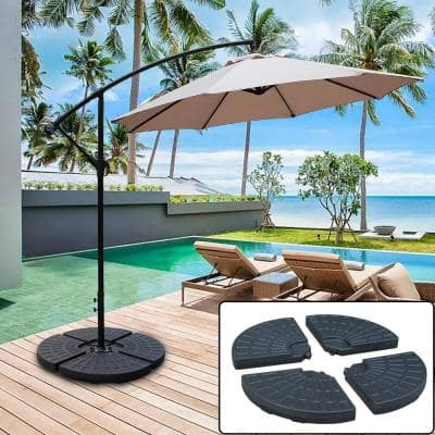145 lbs. Capacity Weighted Cantilever and Offset Patio Umbrella Base in Black (4-Piece)