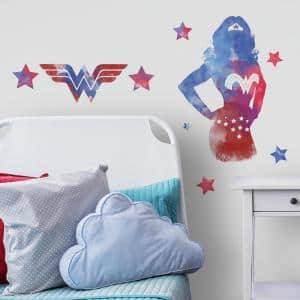 5 in. x 19 in. Wonder Woman Watercolor 9-Piece Peel and Stick Giant Wall Decals