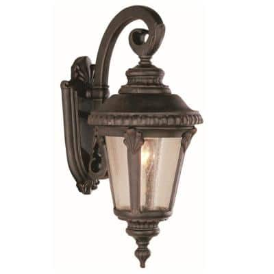 Commons 1-Light Rust Outdoor Wall Lantern Sconce with Seeded Glass