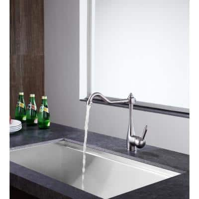 Patriarch Single Handle Standard Kitchen Faucet in Brushed Nickel