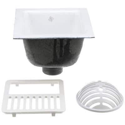 12 in. x 12 in. Acid Resisting Enamel Coated Floor Sink with 3 in. No-Hub Connection and 6 in. Sump Depth