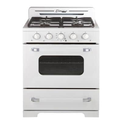 30 in. 3.9 cu. ft. Classic Retro Propane Off-Grid Gas Range in Marshmallow White with Battery Ignition Sealed Burners
