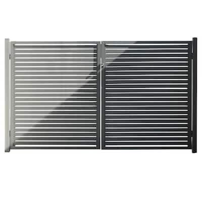 Quick Screen 3.33 ft. x 5.91 ft. x 0.20 ft. Slate Gray Aluminum Gate for Fence Panels