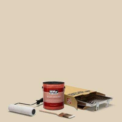 1 gal. #PPU4-12 Natural Almond Ultra Extra Durable Flat Interior Paint and 5-Piece Wooster Set All-in-One Project Kit