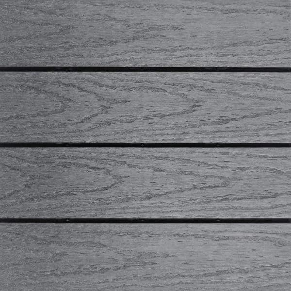 NewTechWood UltraShield Naturale 1 ft. x 1 ft. Quick Deck Outdoor Composite Deck Tile in Westminster Gray (10 sq. ft. Per Box) | The Home Depot