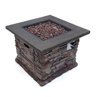 Dakota 32 in. x 24 in. Square MGO Propane Fire Pit in Natural Stone