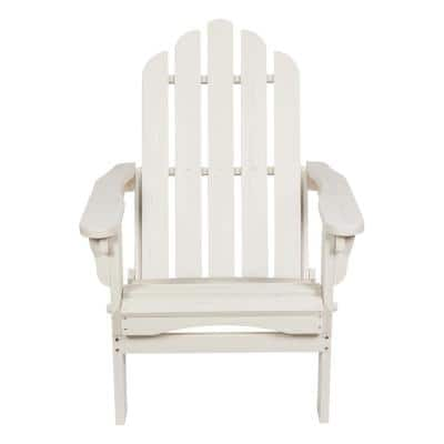 Marina II 37 in. Tall Eggshell White Adirondack Folding Chair with Wood HYDRO-TEX Finish