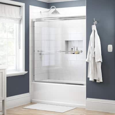 Crestfield 60 in. x 58-1/8 in. Traditional Semi-Frameless Sliding Bathtub Door in Bronze and 1/4 in. (6mm) Niebla Glass